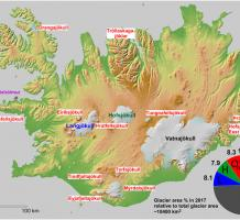 Map of Iceland showing the glaciers considered in this study.